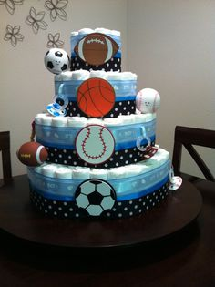 Sports themed diaper cake for my best friend's baby shower