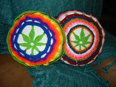 Marijuana Weed Leaf Crochet Large Pillow Mandala by UnicornLincoln, $45.00