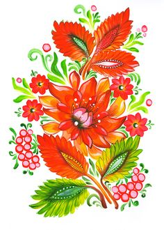 Fire flower -  Ukrainian Folk Art Painting by LongaBrevis.deviantart.com on @deviantART