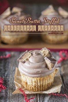 Peanut butter Stuffed Cheesecake Cupcakes - The ultimate Peanut Butter Cheesecake Cupcake recipe that is sinfully delicious rich and packed with creamy peanut butter cheesecake and a surprise peanut butter cup stuffed in the center. If you're a peanut butter lover you will love this recipe.