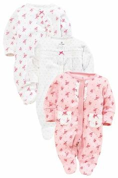 Buy Pink Frill Sleepsuits Three Pack (0mths-2yrs) from the Next UK online shop