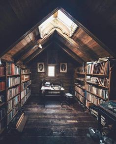 Trendy home library loft attic rooms Ideas Home Library Design, Attic Library, Dream Library, House Design, Attic Office, Library Ideas, Cozy Library, Door Design, Library In Home