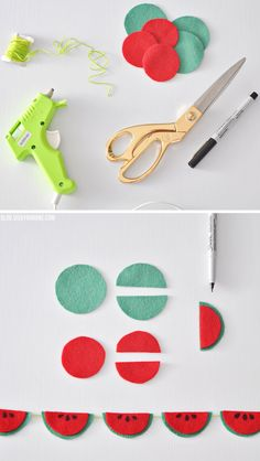 DIY Felt Watermelon Garland | Vicky Barone