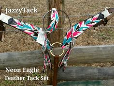 Feather Tack Set in Hot Pink and Turquoise Eagle by JazzyTack Bling Horse Tack, Western Horse Tack, Western Riding, Barrel Racing Horses, Barrel Horse, Horse Boots, Horse Gear, Tack Sets, Horse Supplies