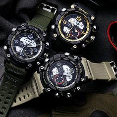 The reinvented SMAEL Military Shock Watch is the new standard in military watches. When soldiers asked, SMAEL listened. They requested a rugged and hardened, water–resistant military watch and the SMAEL Shock Watch steps up to their request. Cool Watches, Watches For Men, Fine Watches, Style Brut, Digital Wrist Watch, Popular Watches, Mens Sport Watches, Swiss Army Watches, Moda Masculina