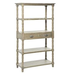 Shelving with Drawers, Grey Wood