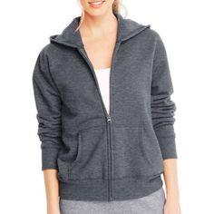 Hanes Women's Fleece Zip Hood Jacket, Size: Small, Gray