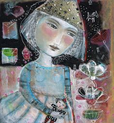 Technique mixte peinture Original Modern Folk Art par kittyjujube, $60.00
