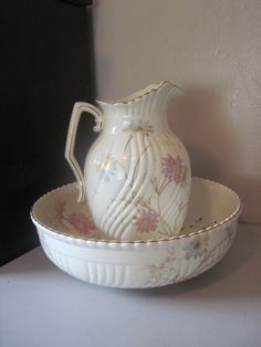 Antique Wash Basin and Matching Pitcher