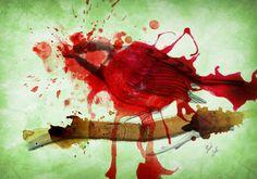 Blood sparrow (graphite - digital watercolour composition)