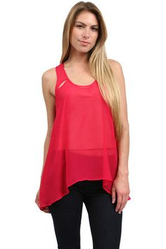 The Sheer Textured Silk Flowy Top in Fuchsia by Zoa at CoutureCandy.com