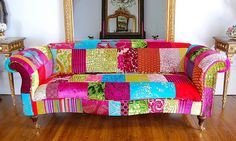 patchwork couch...this could be fun as well...Upcyle a thrift store couch wonderland style
