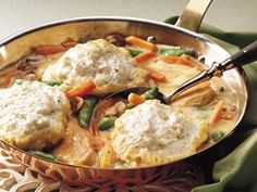 Skillet Chicken and Dumplings: love this recipe. I add chopped onion, garlic powder, nature's seasons, and paprika. I also skip the tarragon and turn the dumplings while they were cooking.