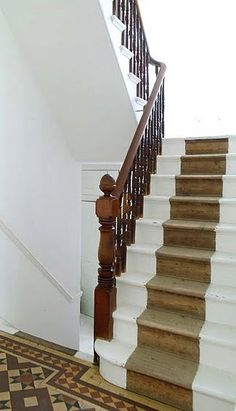 Using the old stairs to look like a runner. If my stairs didn't have carpet, this would be happening.