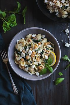 Orecchiette with Chickpeas Spinach and Feta is a simple and quick dinner that tastes incredible! In the time it takes to boil the pasta, you can prepare the rest of the ingredients and have dinner on the table in a flash. Vegetarian Recipes Easy, Good Healthy Recipes, Easy Dinner Recipes, Pasta Recipes, Whole Food Recipes, Diet Recipes, Photo Food, Thing 1, Spinach And Cheese