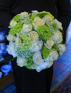 White and green bridal bouquet: white roses, succulents and hydrangea - gorgeous! By Mark Bryan Designs