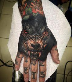 Shin-oukami Skull Hand Tattoo, Hand Tats, Arm Tattoo, Sleeve Tattoos, Hand Tattoos For Guys, Baby Tattoos, Body Art Tattoos, Creepy Tattoos, Badass Tattoos