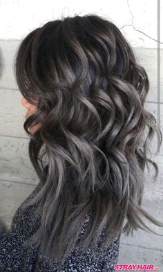 thick waves of gunmetal gray hair color