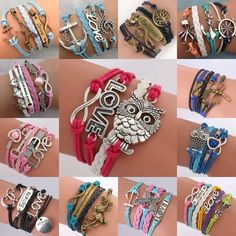 Mixed colors 10X NEW Infinity Owl Love anchor Friendship Leather Charm Bracelet  #Unbranded #Friendship