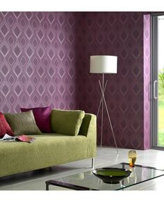 Vogue Purple Wallpaper Green Couch