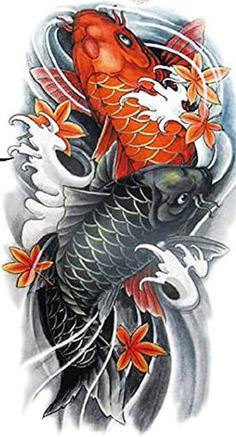 Pez Koi Tattoo, Koi Tattoo Sleeve, Japanese Koi Fish Tattoo, Koi Fish Drawing, Dragon Koi Tattoo Design, Koi Wallpaper, Tatuagem Trash Polka, Tattoo Samurai, Fish Collage