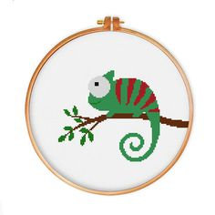 Chameleon cross stitch pattern modern cross stitch by ThuHaDesign