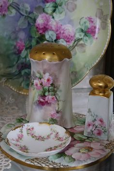 Gorgeous handpainted china - my precious Mother had a very similar set -especially the salt & pepper set