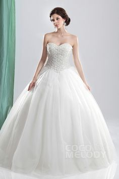 Gorgeous Ball Gown Sweetheart Basque Waist Floor Length Tulle Wedding Dress CWUF13006