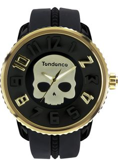 Tendence Crystal Head Skull Watch -Black/Gold #Fashion