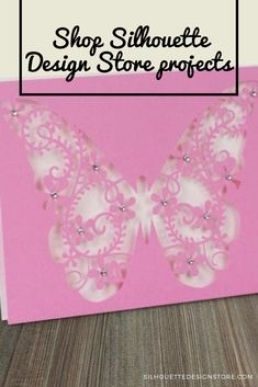 """This easy-to-make butterfly card is a beautiful way to send a gift card, thank you, or """"I love you"""" to someone! This card is in x in and uses an envelope. Silhouette Cameo Projects, Silhouette Design, Design Projects, Craft Projects, A2 Envelopes, Butterfly Cards, Card Stock, Cricut, Easy"""