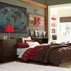 Paramount Bed + Desk Set | PBteen.  Map, Colors