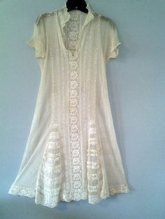 ON SALE 1920's sheer all lace cream colored dress with by AudieEm, $95.00