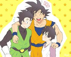 Gohan and Videl with Goku making things awkward lol Dragon Ball Z, Dragon Z, Goku And Gohan, Son Goku, Clannad, Otaku, Dbz Characters, Cartoon Games, Manga Pictures