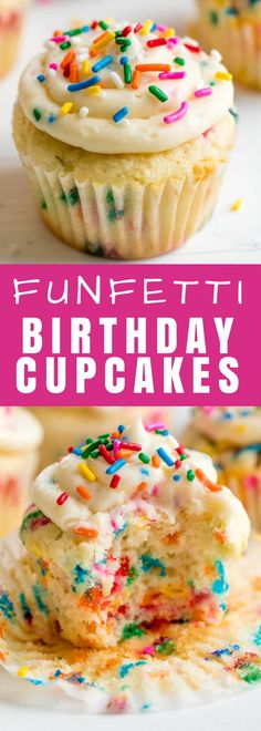 These Funfetti Birthday Cupcakes are perfect for any birthday party! Simple to m… These Funfetti Birthday Cupcakes are perfect for any birthday party! Simple to make, no boxed mixes required, and perfectly moist and fluffy. Cupcakes Amor, Cake Mix Cupcakes, Fluffy Cupcakes, Cupcake Mix, Sprinkle Cupcakes, Girl Cupcakes, Cupcake Cakes, Wedding Cupcakes, Birthday Cake Cupcakes