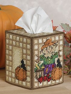 Seasonal Tissue Toppers Scarecrow in plastic canvas