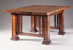 CURLY CYPRESS DINING TABLE  FRANK LLOYD WRIGHT FOR THE ISABEL ROBERTS HOUSE, RIVER FOREST, ILLINOIS, CIRCA 1908