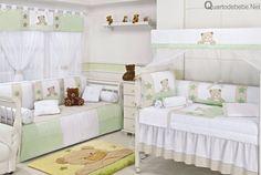 enxoval de quarto de bebê verde de ursinhos
