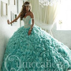 Turquoise quinceanera prom dress