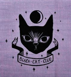 Want to be a member of the Black Cat Club, here is the patch! An original drawing screen printed and heat sealed on to light purple cotton.