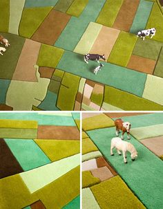 "These rugs by Forian Pucher "" are themed after farming styles from Europe to Africa to America, each pattern inspired by a regional approach to agriculture in terms of both foods grown and land use."""