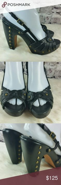 Stunning black leather woven gold studded wedges Stunning black leather woven gold studded wedge heels. Great condition. Heels are 4.5 inches. BCBGMaxAzria Shoes Heels
