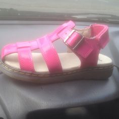 Dr Martens Sailor size 2 for kids Pink with Velcro strap in back for easy slide on. Buckle on side as well. Never worn, no box Dr. Martens Shoes