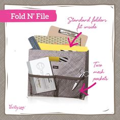Fold 'n File:  This is great for your desk.  It can fit standard size folder and has two mesh pockets in the front for further desk organization.  This also fits perfectly in our Ziptop Organizing Utility Tote.