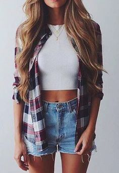 plaid + crop tops + vintage denim