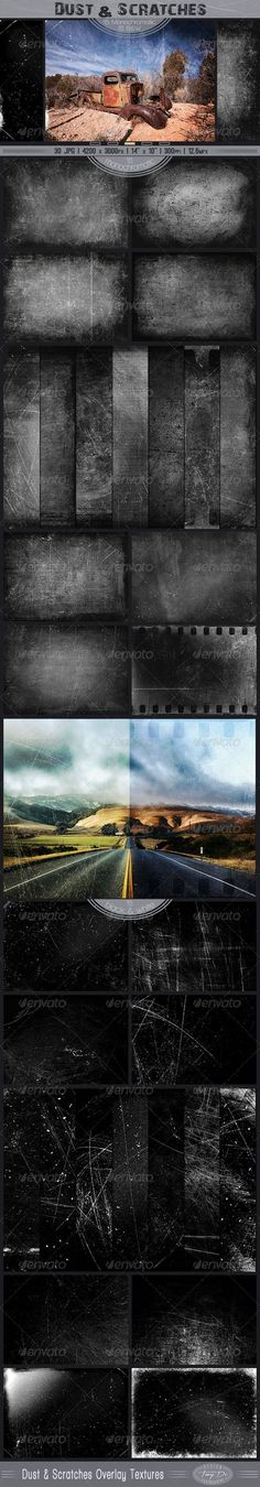 Dust & Scratches Overlay Textures - Industrial / Grunge Textures...not free, but great set!