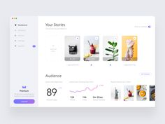 Stories widget dashboard designed by Alex Dyakov. Connect with them on Dribbble; Project Dashboard, Dashboard Design, Dashboard Interface, User Interface Design, Flat Web Design, Ui Design, Design Layouts, Design Elements, Graphic Design