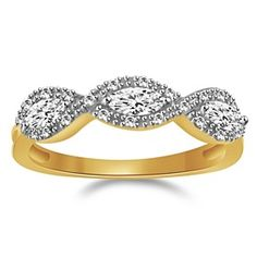 18K Yellow Gold Over 0.80 Ct Marquise & Round Ring by JewelryHub on Opensky