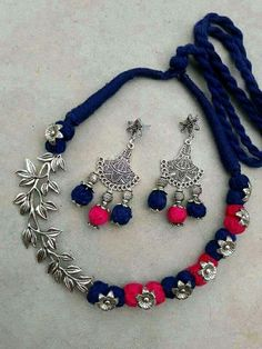 S Silk Thread Necklace, Thread Jewellery, Fabric Jewelry, Agate Jewelry, Oxidised Jewellery, Beaded Jewelry, Handmade Necklaces, Handmade Jewelry, Terracotta Jewellery