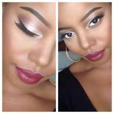 Fall Makeup Look for darker skin.    Sin lipstick from MAC cosmetics.   Great color for fall season.  A simple eye and a dark lip!  Instagram: c_marie927