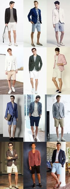 Men's Go-To Smart-Casual Summer Outfit Combinations: Shorts and Blazer Combination Inspiration Lookbook